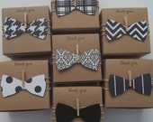 25 3x3x2 inch bow tie favor boxes  Little man baby shower black and white  bow ties Ready to ship
