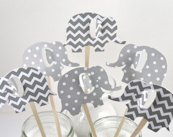 12  Chevron Elephant Cupcake Toppers / Baby Shower decor / Grey Elephant Toppers / Elephant Invitation / Elephant Baby Shower / Elephant