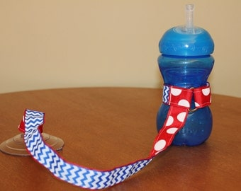 Sippy Cup Leash | Sippy Strap | Sippy Cup Strap Suction Cup | Bottle Tether | Sippy Cup Strap | Suction Sippy Strap | Blue Chevron Red Dots