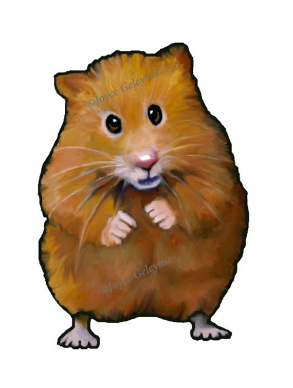 Clip Art: Hand Drawn Hamster, Animal Clipart, Freehand Color Pencil ...