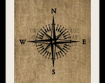 Burlap Print, Mariner Compass