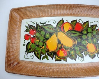 Vintage Nevco Large Tray Fruit Fall Serving Basketweave embossed edge 1960's Made in Japan