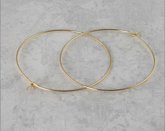 "Hoop Earrings, 1-1/2"" (40mm) 14 KT Gold Filled Hoop Earrings, Simple Hoop Earrings, Classic Hoop Earrings, Thin Hoop Earrings"