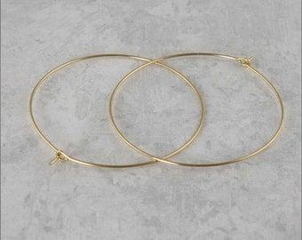 """Hoop Earrings, 1-1/2"""" (40mm) 14 KT Gold Filled Hoop Earrings, Simple Hoop Earrings, Classic Hoop Earrings, Thin Hoop Earrings"""