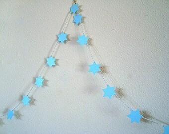 Handmade Star garland - Sparkle garland - Blue Stars Garland - wedding garland - Glitter Stars - adjustable garland - Party decoration