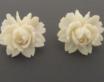 1950's Repurposed Vintage White Rose Flower Post Earrings
