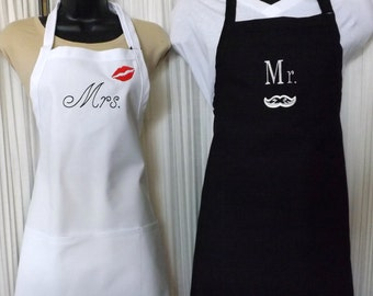 Mr. and Mrs. Embroidered Aprons