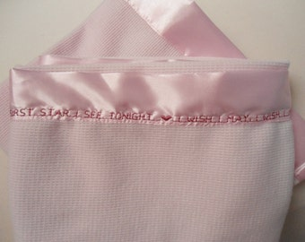 """Baby Blanket Pink Thermal Personalize Custom, 36"""" x 50"""", Satin Border, Car Seat, Crib and Stroller Blanket Baby Infant Shower Gift"""
