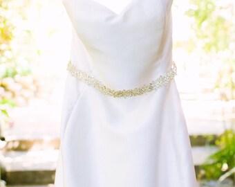 New GOLD Toned Bridal Rhinestone Wedding Gown Sash Belt