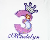 Princess Sofia the first birthday shirt, Personalized, Embroidered, Appliqued, Monogrammed