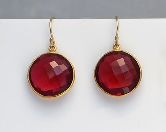 Red Garnet Earrings - January Birthstone - dangle earrings - bezel set earrings - gold earrings - round earrings, leverback earrings, silver