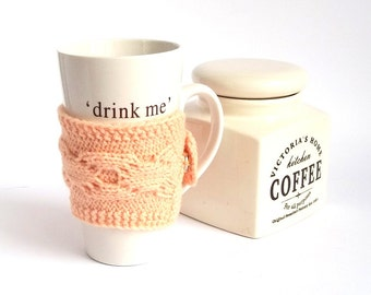 SALE - 50%OFF. Coffee Cup Cozy. Knitted Mug Cozy. Knit Tea Cup Cosy. Pick your color - green, blue, red, burgundy, yellow, peach, fuchsia.