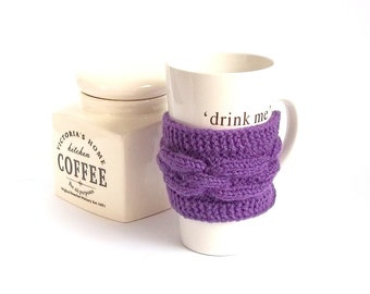 SALE - 50%OFF. Purple Knit Coffee Cozy. Knitted Tea Cup Cosy. Knit Purple Mug Cozy.