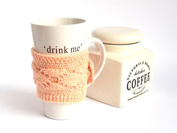 Coffee Cup Cozy. Knitted Mug Cozy. Knit Tea Cup Cosy.