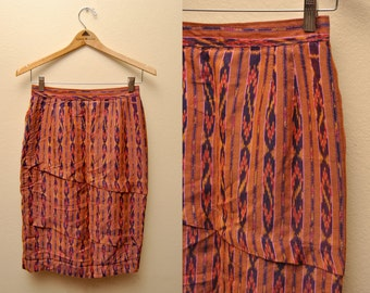 Vintage Handmade Skirt Patterned Tribal Paneled Small