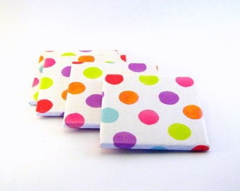 Decoupaged Ceramic Coasters, Brightly colored polka dots