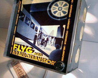 Retro Aviation FLYG Luggage Label Night Light! Finely Repurposed