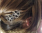 Silver Four Leaf Clover Bobby Pin Set for St. Patrick's Day - Clover Hair Pins - Silver Clovers