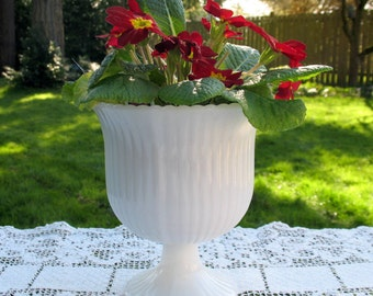 White Milkglass Planter 6.5 in Tall Pedestal by Brody Co., Cleveland USA Scalloped Rim Vertical Lines Vintage Home Decor Weddings Holiday