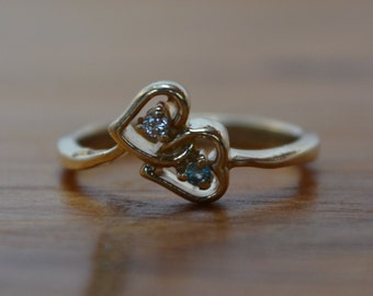 Unique Vintage Engagement Ring // Double Heart Diamond & Topaz Engagement Ring // 14K Gold Diamond Ring with Topaz // Two Hearts as One