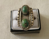 Native American Double Turquoise Sterling Silver Ring - Size 7 1/4 US