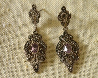 Vintage Amethyst Marcasite Sterling Silver Earrings