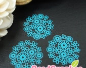 CH-ME-01240F - Turquoise blue  enameled, Petit Daisy pattern computer-cut plate, 4 pcs
