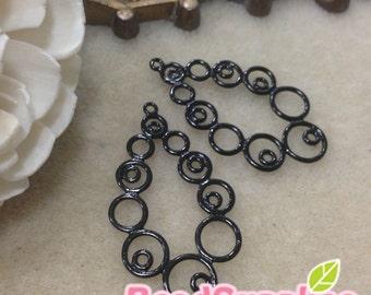 CH-ME-10048- Nickel Free, color enameled, Circle circle and circle teardrop, black, 4 pcs