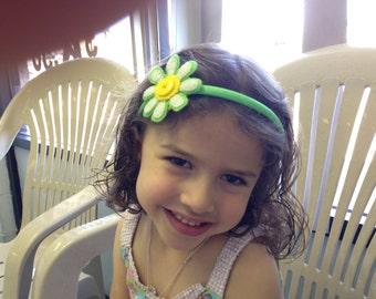 Daisy headband, hand stitched.