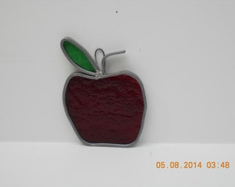 red stained glass apple