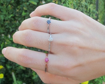 Blue Sapphire Ring- Rose Gold Ruby Ring- Stackable Diamond Rings- Dainty Birthstone Ring- Sterling Silver Gemstone Ring