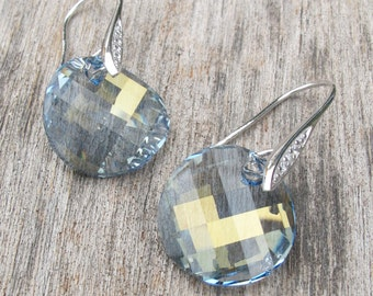 Swarovski Crystal Dangle Earring- Round Blue Drop Earring- Blue Quartz Dangle Earring- Sterling Silver Circle Earring