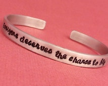Wicked Inspired - Everyone deserves the chance to fly - A Hand Stamped Bracelet in Aluminum or Sterling Silver