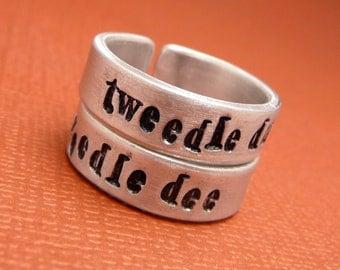 Alice in Wonderland Inspired - Tweedle Dum & Tweedle Dee - A Pair of Hand Stamped Aluminum Rings