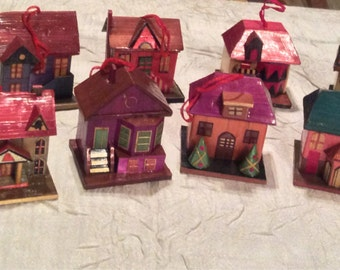 Vintage 12 Miniature Houses for Christmas Tree or Christmas Decorations for Display