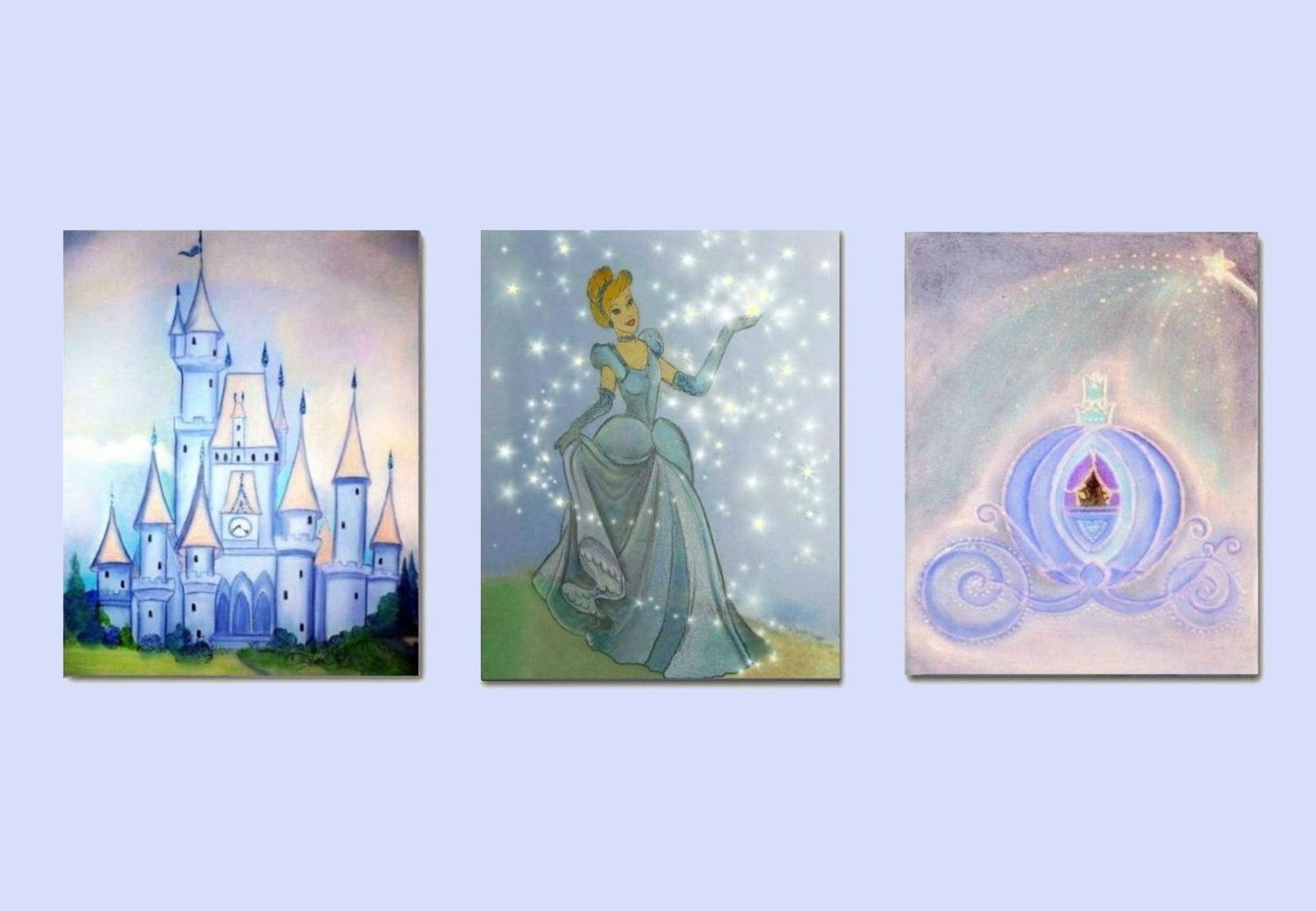 Cinderella kids art princess wall art princess by handpainting for Cinderella castle wall mural