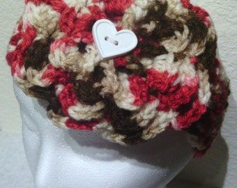 Crochet Flower Headband With Removable Flower, Cherry Chip