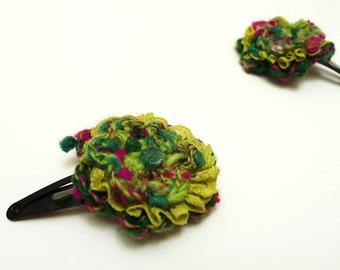 Crocheted hair flower, handspun wool flower, hair accessory,  floral hair clip