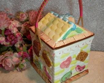 Tea Biscuit Jar Hansel & Gretel Candy Gingerbread House Lidded Basket Yoko Boeki Co. 1920's