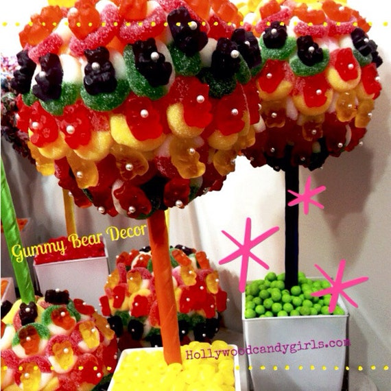 Rainbow Gummy Bear Candy Land Centerpiece Topiary Tree Candy