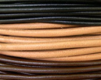 1 Yard Plus - 3mm Black, Natural, or Brown Greek Leather - Genuine Greek Leather - Made in Greece - Imported - Wholesale Leather by the Yard