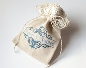 Wedding favor sachet, burlap linen gift bag, with blue embroidery - name of bride and groom ,  personalized bridal favor bag with lace