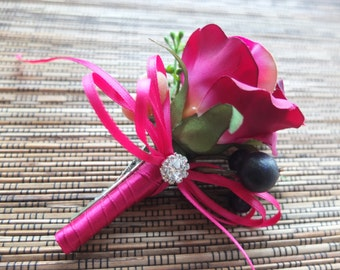 Boutonniere, Rustic Fuchsia Boutonniere, hot pink flower boutinniere
