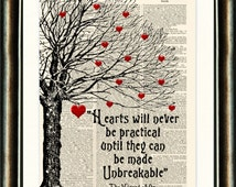 Wizard of Oz Heart Quote - vintage book page print image on a page from an Upcycled late 1800s Dictionary Buy 3 get 1 Free.