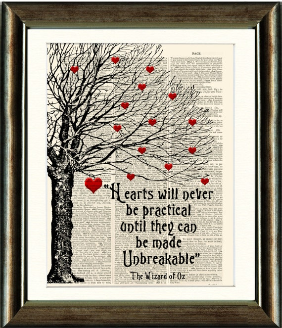 Book Cover Vintage Quotes ~ Wizard of oz heart quote vintage book page print image on a