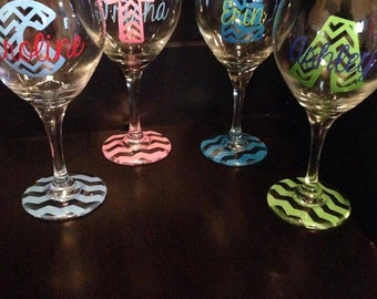 Chevron Letter and Base Wine Glass, Wedding Party, Wedding Glasses