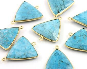 Turquoise  Bezel Triangle Connector Gemstone Component, Gold Vermeil ,  22mm, 1 Piece, (BZCT8105)