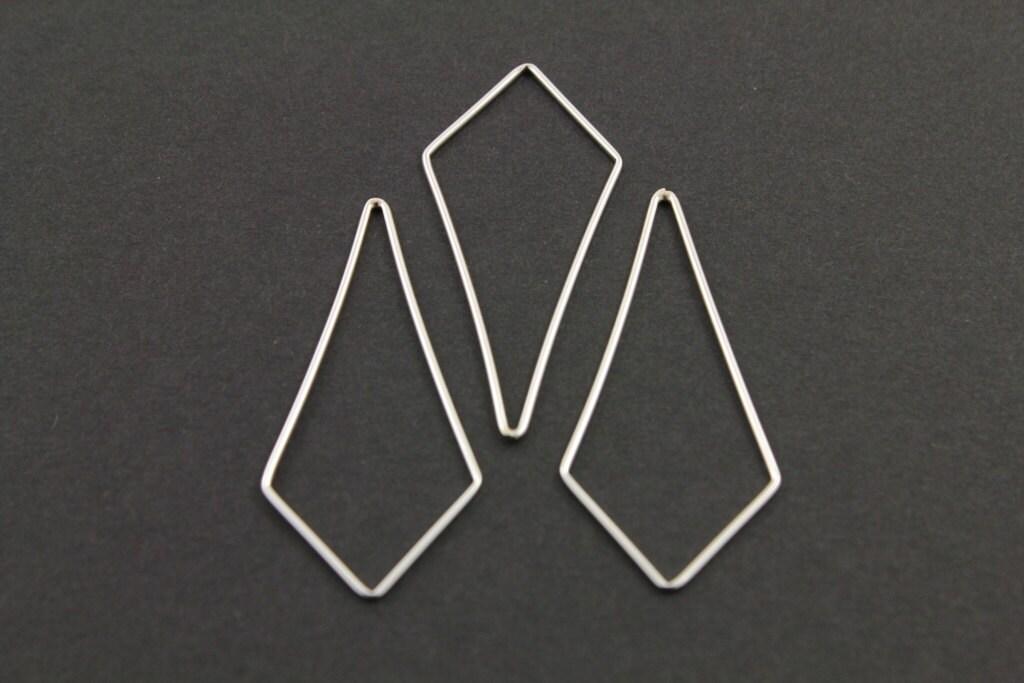 Sterling Silver Diamond Shape Plain Chandelier Finding