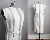 1960s Vintage Shift Dress Cream Sleeveless 60s Dress Grey Wool Stripe Cord Belt / Small