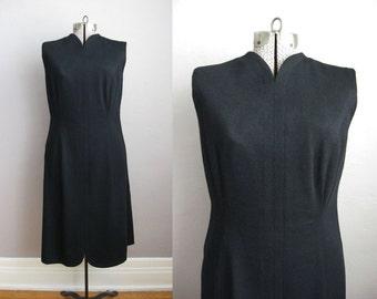 1960s Black Dress / 60s Cocktail Dress / Vintage Shift Dress / Large